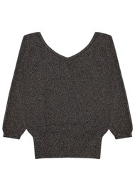 JUMPER 1234 Joan Lurex Cashmere Vee Jumper - Black