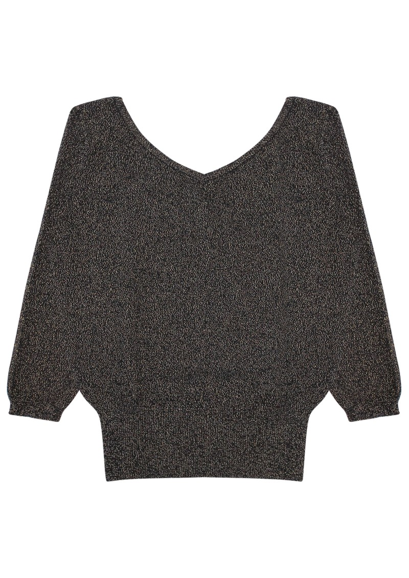 Joan Lurex Cashmere Vee Jumper - Black main image