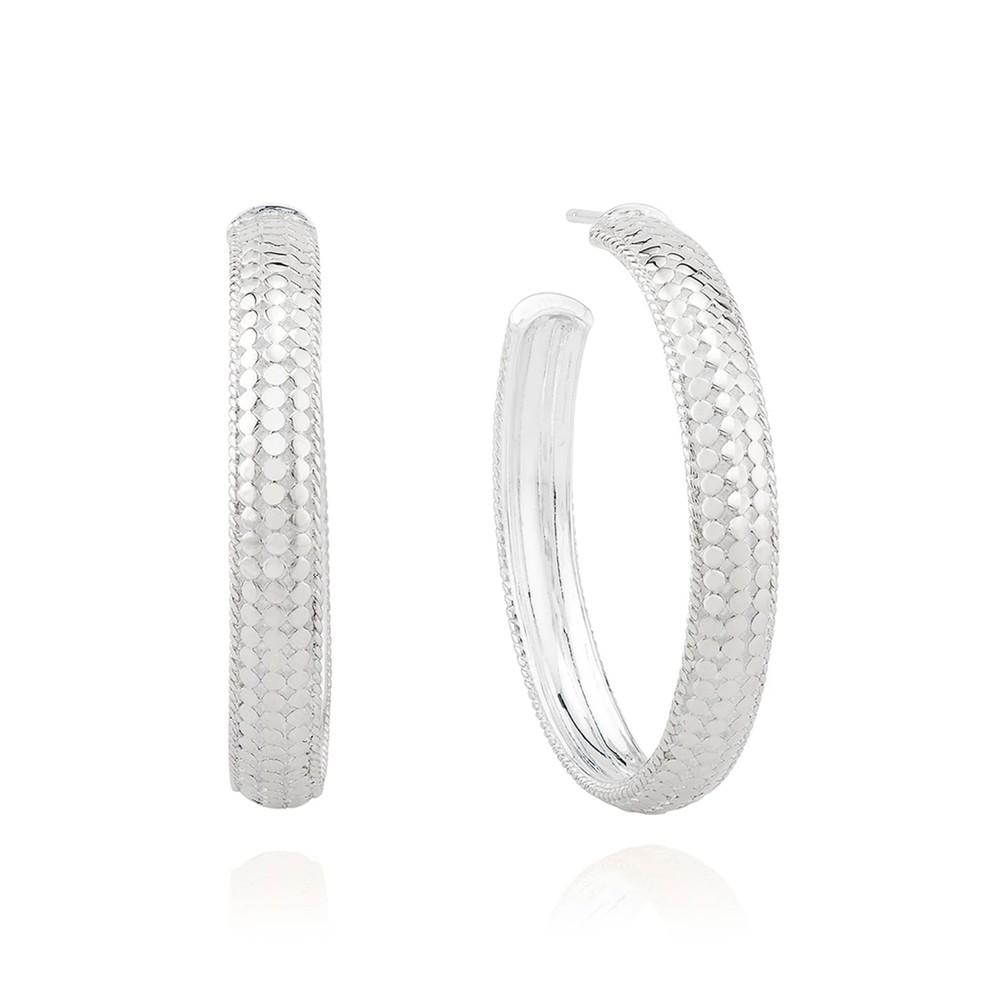 Medium Dome Hoop Earrings - Silver