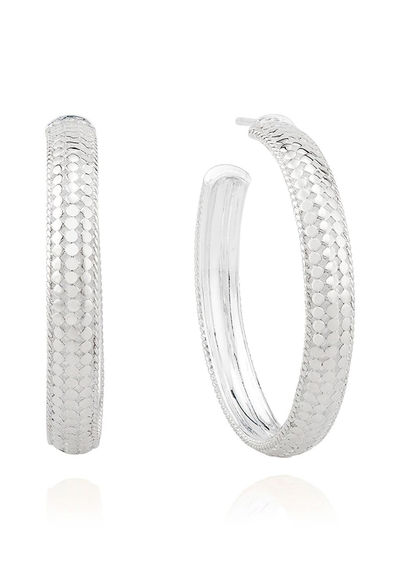 Medium Dome Hoop Earrings - Silver main image