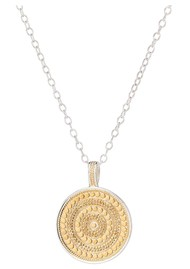 ANNA BECK Large Beaded Reversible Disc Necklace - Gold & Silver