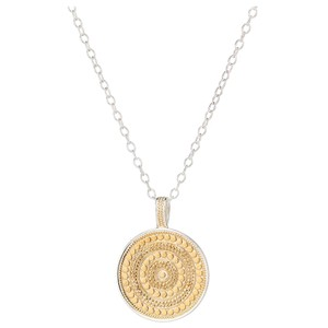 Large Beaded Reversible Disc Necklace - Gold & Silver