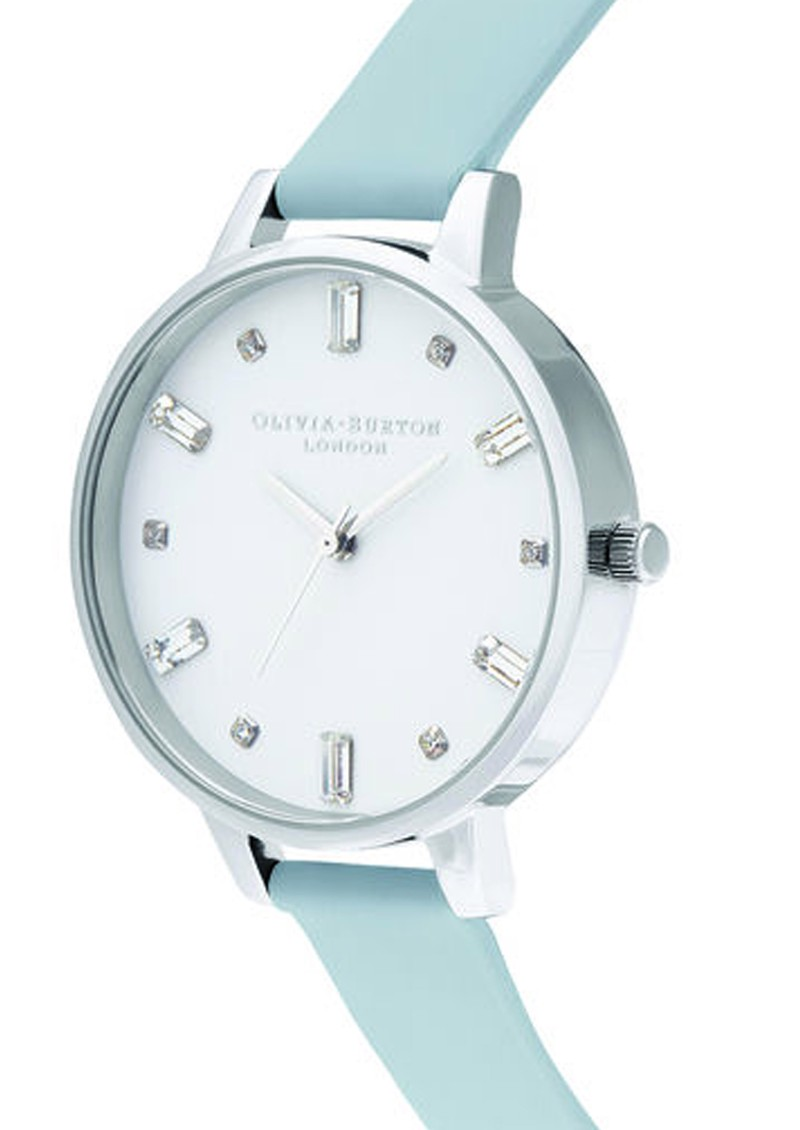 Olivia Burton Bejewelled Vegan Friendly Big Dial Watch -  Chalk Blue & Silver main image