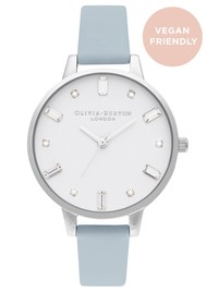 Olivia Burton Bejewelled Vegan Friendly Big Dial Watch -  Chalk Blue & Silver