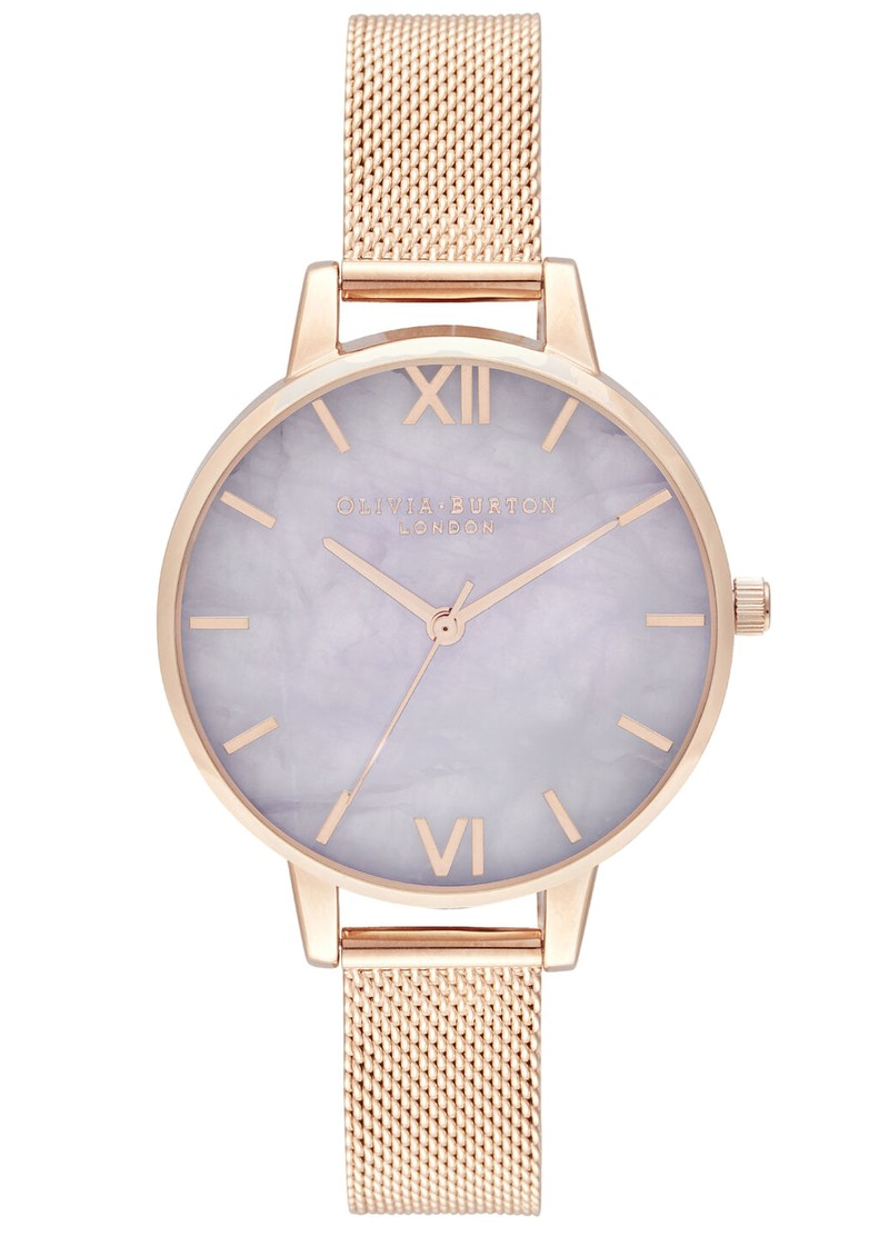 Amethyst Demi Dial Mesh Watch - Rose Gold main image