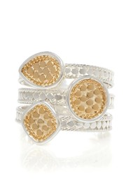 ANNA BECK Beaded Triple Ring - Gold & Silver