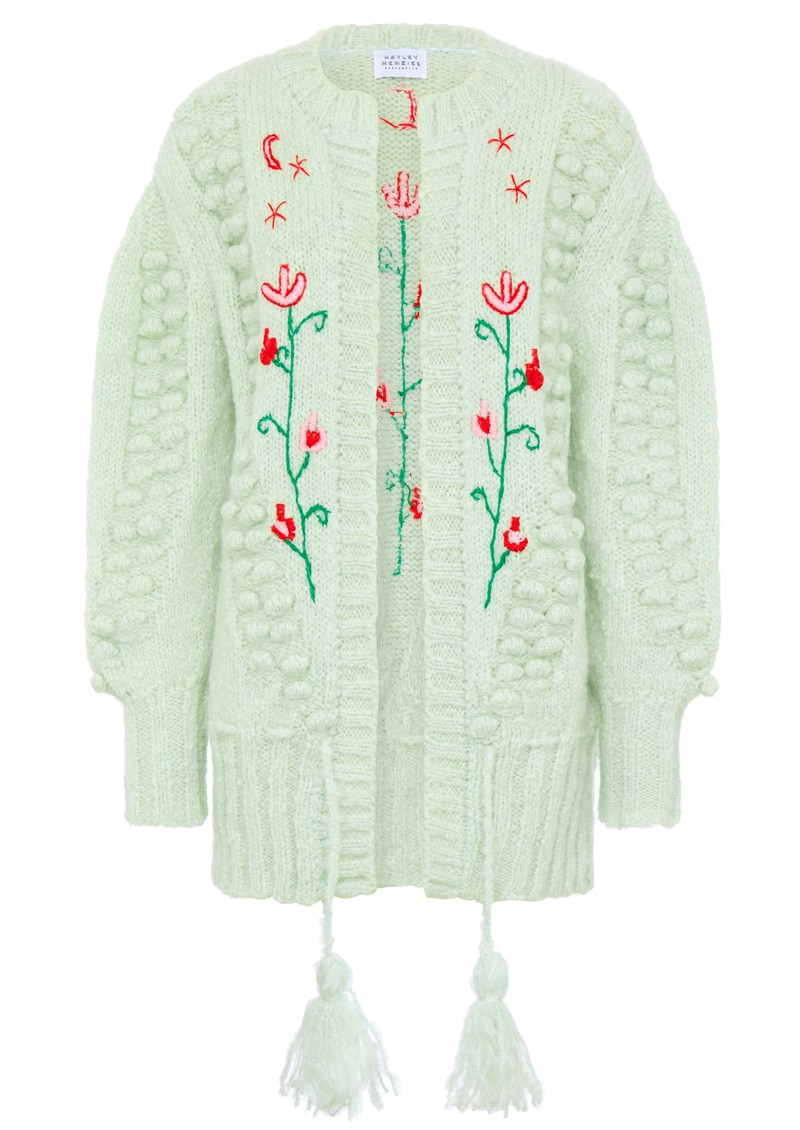 HAYLEY MENZIES Midi Embroidered Cardigan - Mint main image