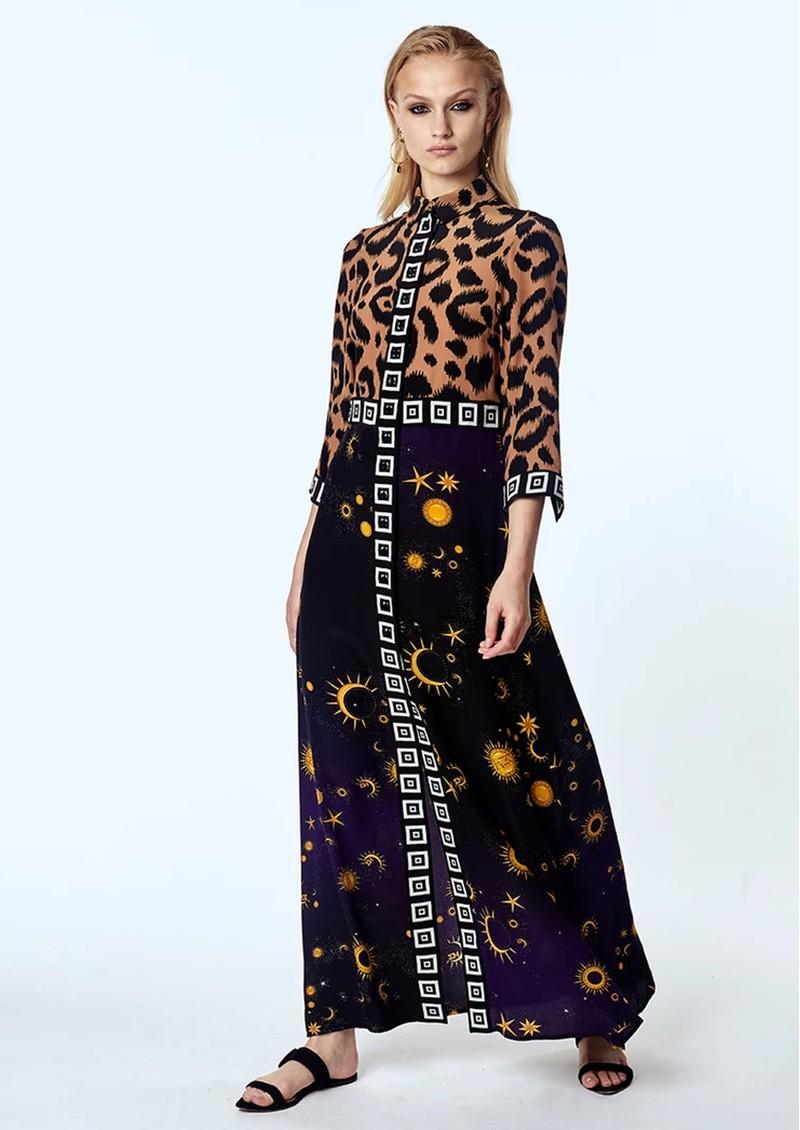 HAYLEY MENZIES Long Silk Shirt Dress - Ikat Superstar Struck main image
