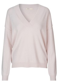 LEVETE ROOM Funda V Neck Jumper - Light Pink