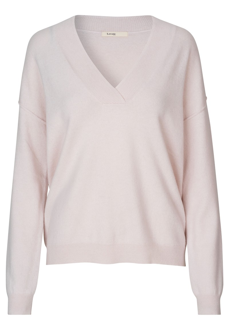 LEVETE ROOM Funda V Neck Jumper - Light Pink main image