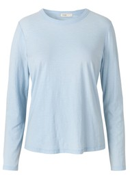 LEVETE ROOM Any Long Sleeve T-Shirt - Light Blue