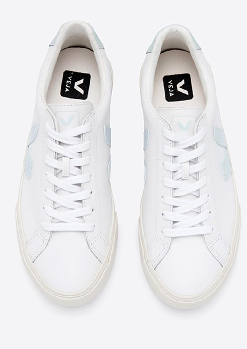 VEJA Esplar Logo Leather Trainers - Extra White & Menthol main image