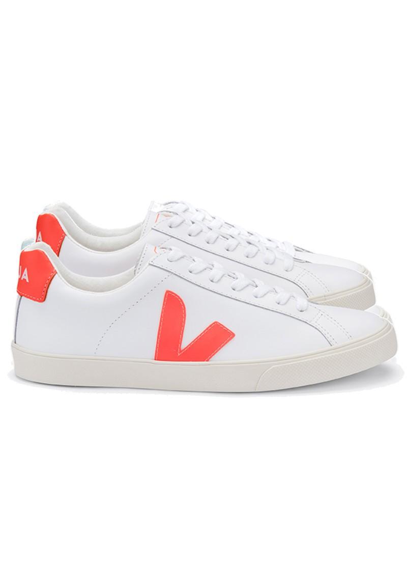 VEJA Esplar Logo Leather Trainers - Extra White & Orange main image