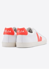 VEJA Esplar Logo Leather Trainers - Extra White & Orange