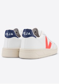 VEJA V-10 Leather Trainers - Extra White, Orange & Cobalt
