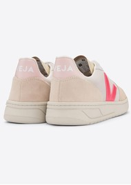 VEJA V-10 Suede Trainers - Multico, Natural & Rose