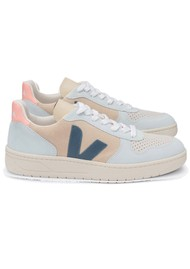 VEJA V-10 Suede Trainers - Multico, Almond & California