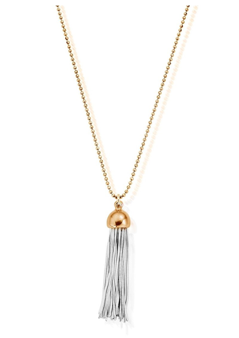 ChloBo Diamond Cut Chain Necklace With Tassel Pendant - Gold main image