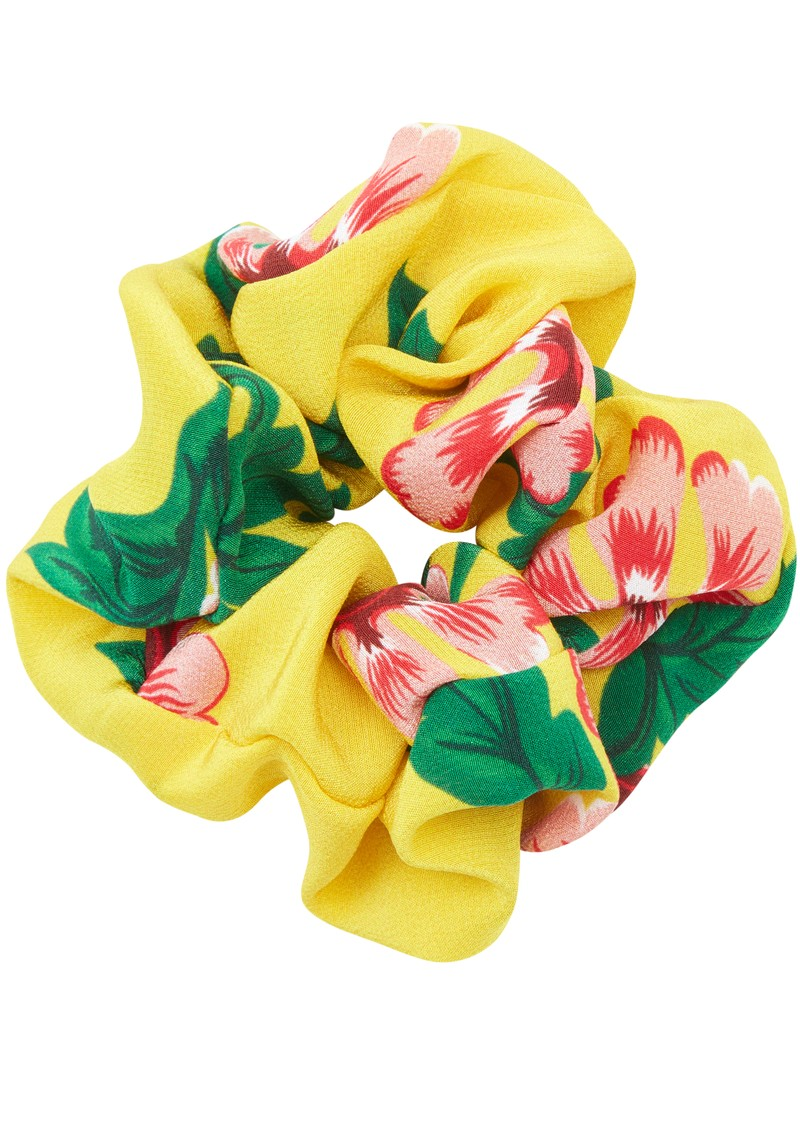 HAYLEY MENZIES Silk Printed Scrunchie - Eden Yellow main image