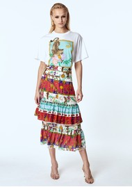 HAYLEY MENZIES Midi Frill Silk Skirt - Enchanted Leo