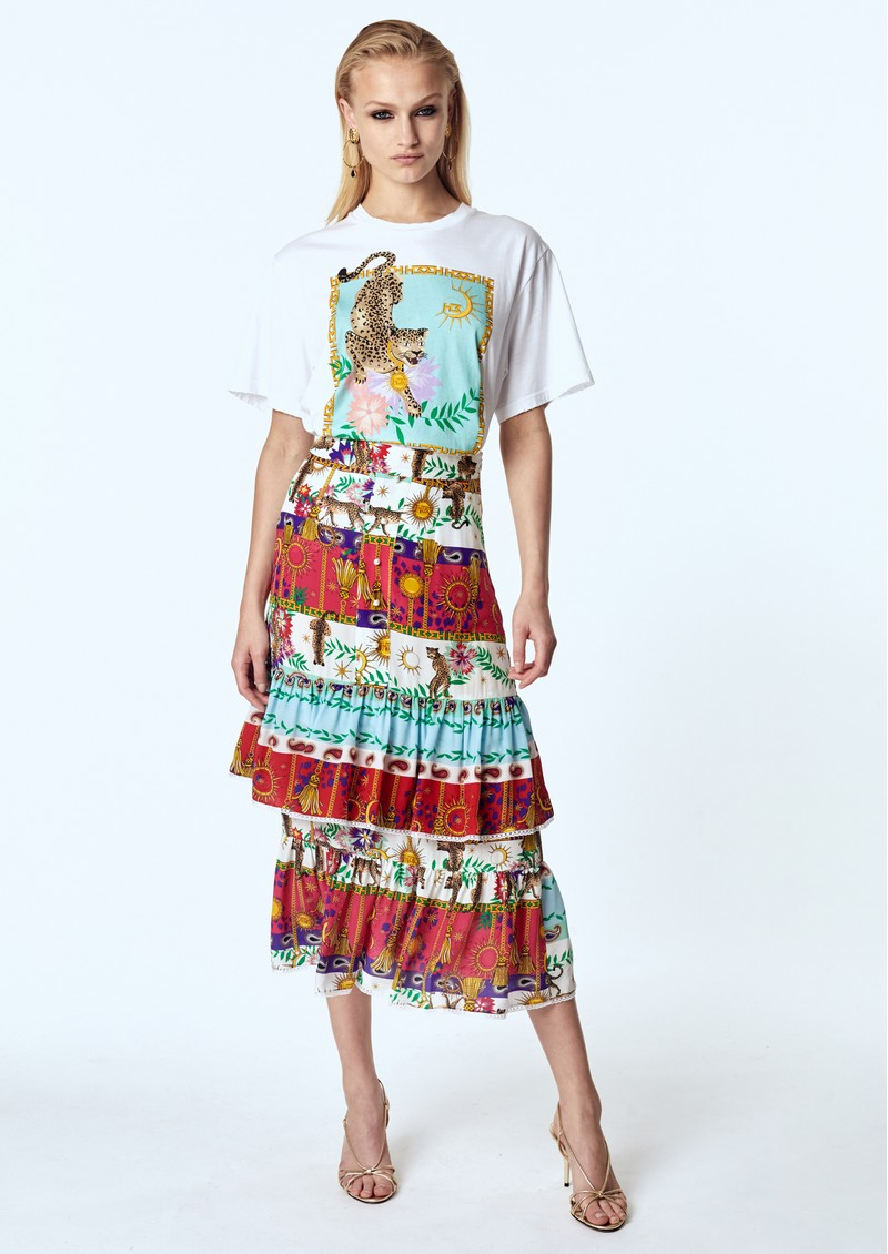 HAYLEY MENZIES Midi Frill Silk Skirt - Enchanted Leo main image
