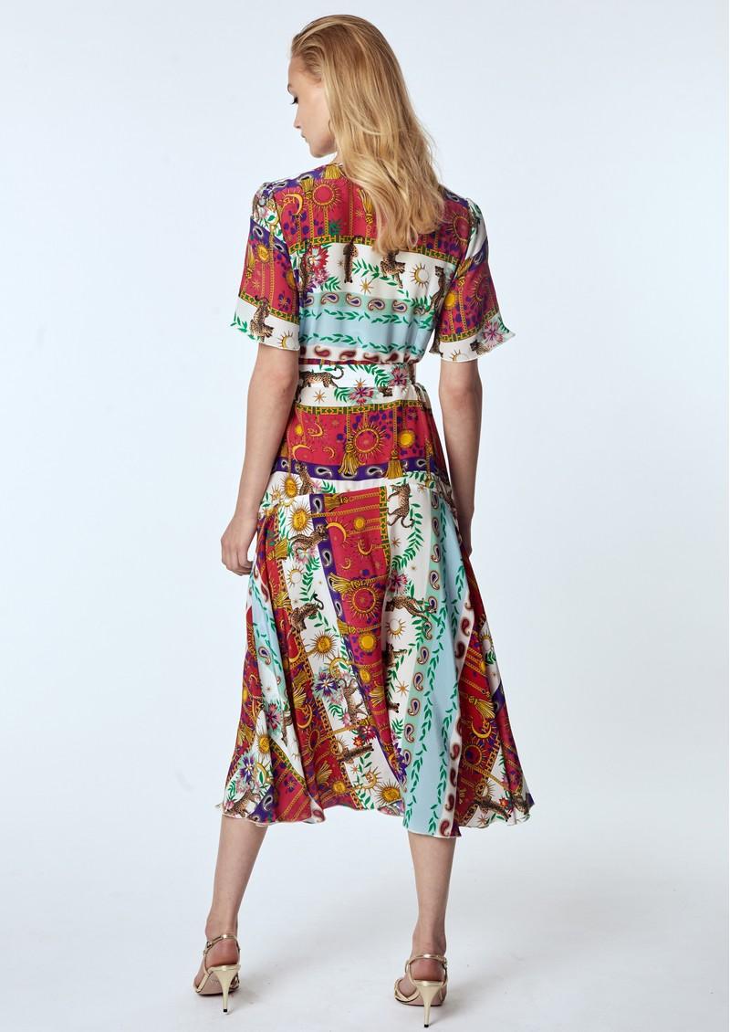 HAYLEY MENZIES Midi Silk Belted Dress - Enchanted Leo main image