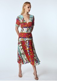 HAYLEY MENZIES Midi Silk Belted Dress - Enchanted Leo