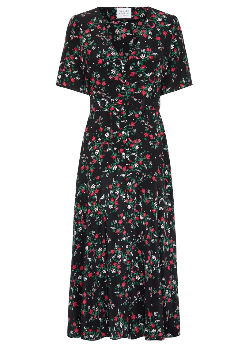 HAYLEY MENZIES Midi Belted Silk Dress - Eve main image
