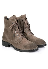 AIR & GRACE Jessa Lace Up Suede Boot - Grey