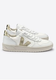 VEJA V-10 B Leather Mesh Trainers - White & Gold