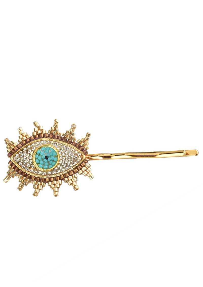 MISHKY Evil Eye Hair Slide - Gold & Turquoise main image