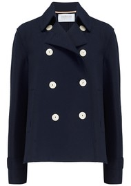 HARRIS WHARF Cropped Trench Jacket - Navy