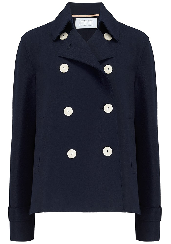 HARRIS WHARF Cropped Trench Jacket - Navy main image