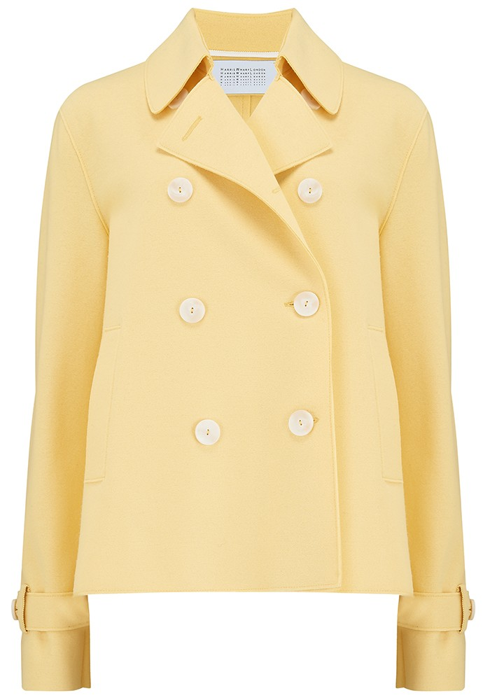 HARRIS WHARF Cropped Trench Jacket - Pastel Yellow main image