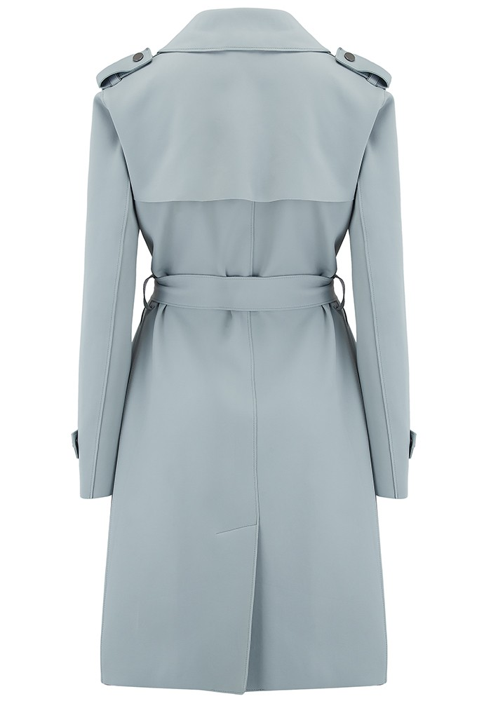 HARRIS WHARF Soft Trench Coat - Powder Blue main image