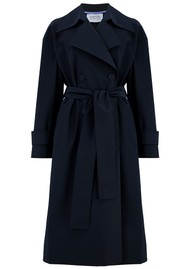 HARRIS WHARF Oversized Water Repellent Trench Coat - Dark Blue