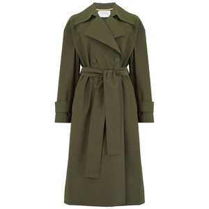Oversized Water Repellent Trench Coat - Military Green