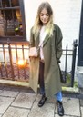 HARRIS WHARF Oversized Water Repellent Trench Coat - Military Green