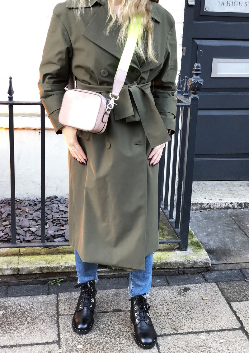 HARRIS WHARF Oversized Water Repellent Trench Coat - Military Green main image