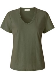 LEVETE ROOM Any Short Sleeve T-Shirt - Khaki