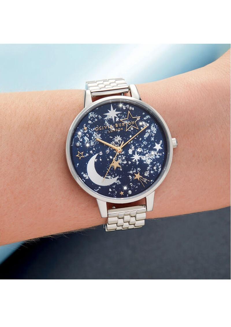 Olivia Burton Celestial Big Dial Bracelet Watch - Navy Sunray, Gold & Silver main image