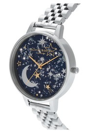 Olivia Burton Celestial Big Dial Bracelet Watch - Navy Sunray, Gold & Silver