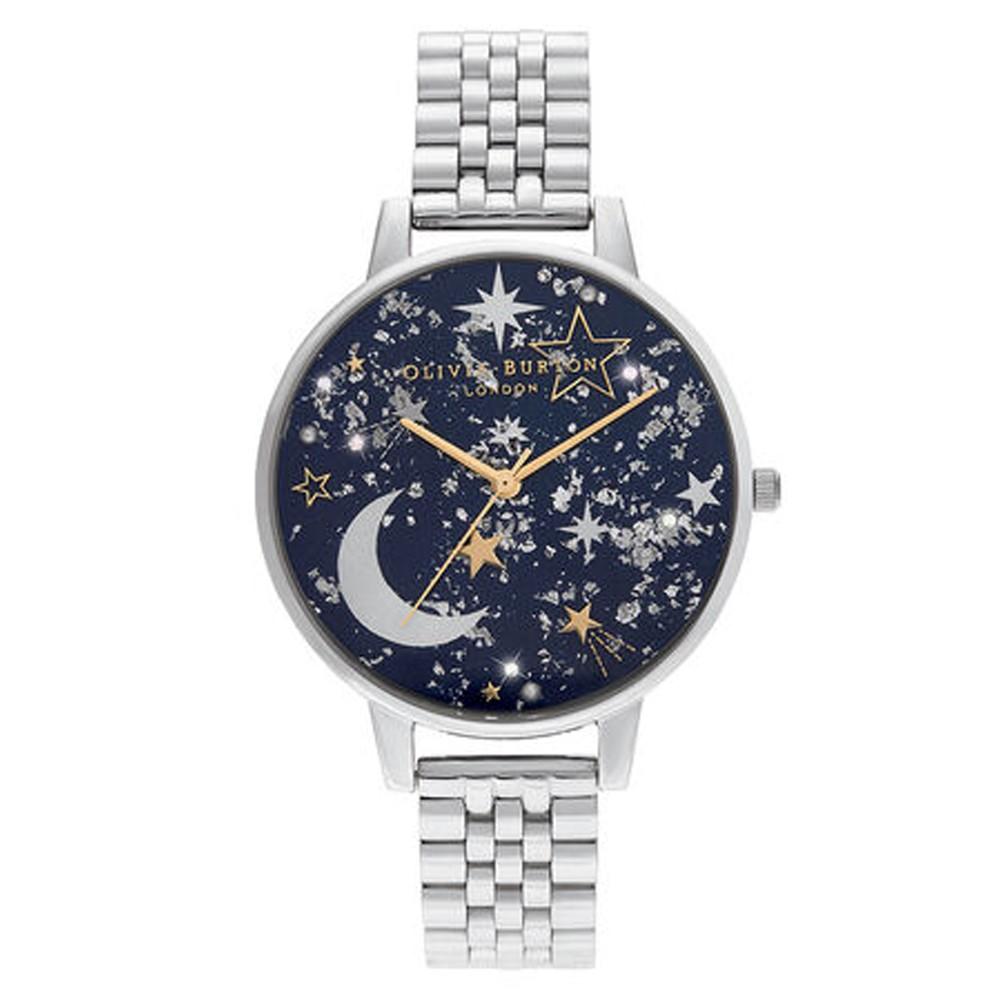 Celestial Big Dial Bracelet Watch - Navy Sunray, Gold & Silver