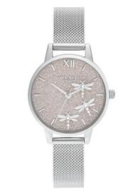 Olivia Burton Dancing Dragonfly Midi Dial Mesh Watch - Blush & Silver