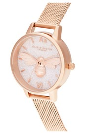 Olivia Burton Glitter 3D Bee Midi Dial Mesh Watch - Rose Gold