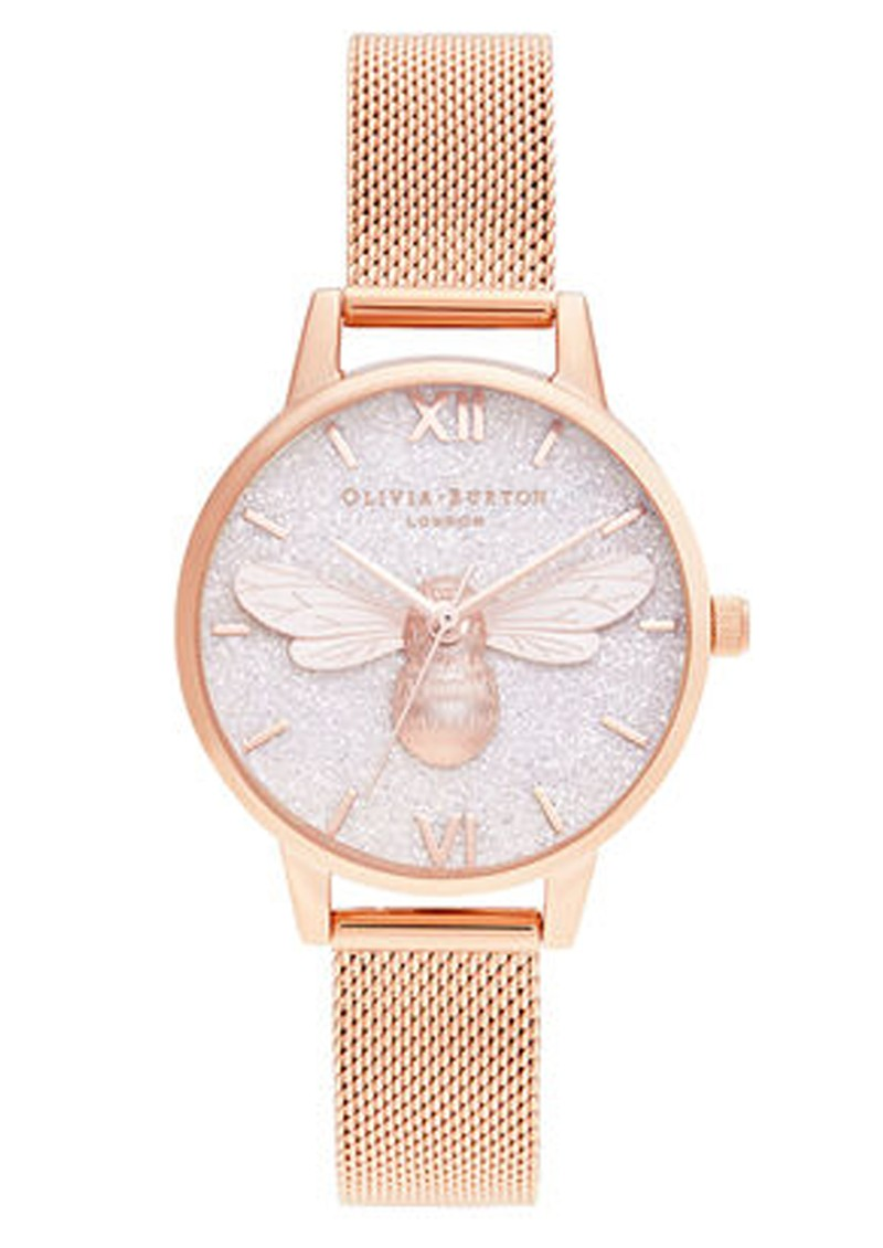 Glitter 3D Bee Midi Dial Mesh Watch - Rose Gold main image