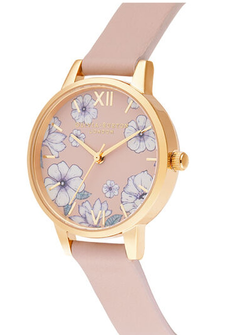 Olivia Burton Groovy Blooms Vegan Midi Dial Watch - Candy Pink & Gold main image