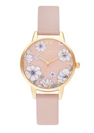 Olivia Burton Groovy Blooms Vegan Midi Dial Watch - Candy Pink & Gold