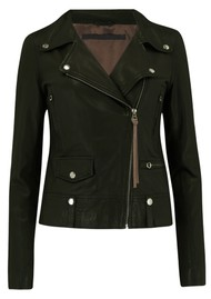 MDK Seattle New Thin Leather Jacket - Dark Green