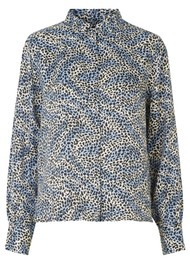 LEVETE ROOM Isa Printed Shirt - 209 Blue